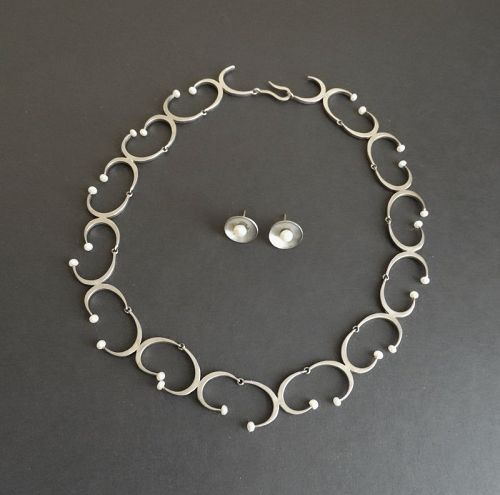 Vintage Hand Made Sterling & Pearl Necklace and Earrings Signed
