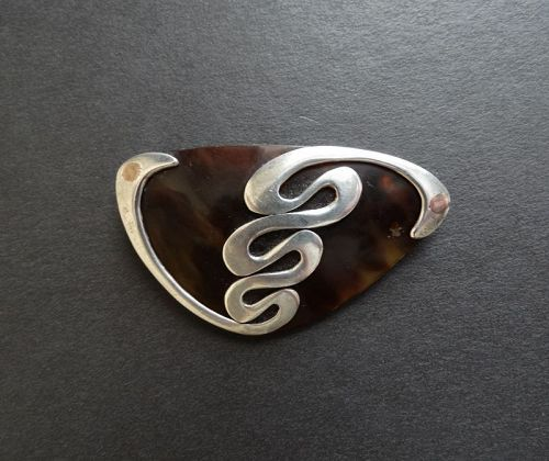 Vintage Enrique Ledesma Sterling Silver Copper and Shell Brooch Taxco