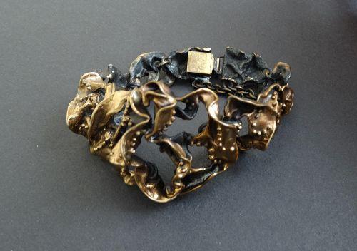 Hannu Ikonen Large Bronze Finland Textured Bracelet Modernist Vintage
