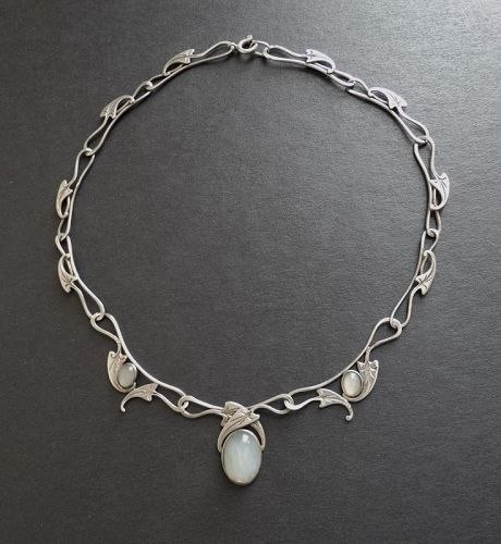 Arts & Crafts Design Hand Wrought Silver Necklace Moonstones Cabochons