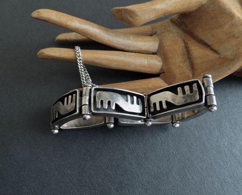 Vintage Salvador Teran Design Bracelet Taxco Sterling Hinged Eagle