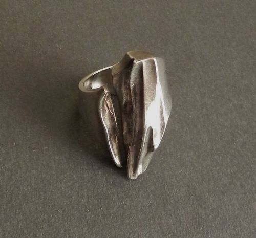 Lapponia Finland Erosion Ring 1975 Sterling SZ 6.5-7 Flame Finish