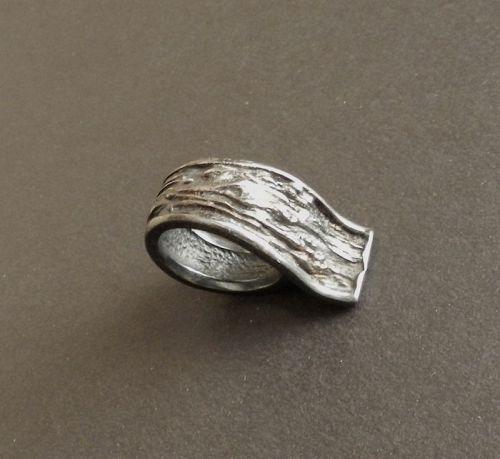 Knud V Andersen KVA Bark Sterling Modernist Ring Size 7 Denmark