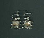 Mexican Silver Victoria Taxco Shadowbox Earrings