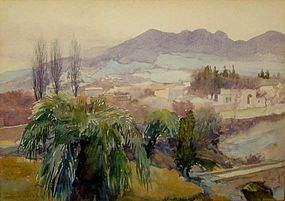 "JOHN SCOTT WILLIAMS, ""BERBER VILLAGE NEAR TLEMCEN"""