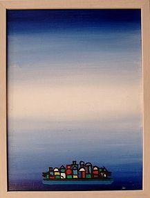 HENRY KALLEM, MONHEGAN II, ORIGINAL OIL ON PANEL, 1966