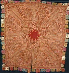 ANTIQUE EMBROIDERED KASHMIR SHAWL, CIRCA 1820