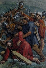 19th CENTURY ITALIAN WATERCOLOR, STATION OF THE CROSS