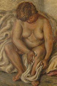 EDGAR BRITTON, SEATED NUDE, ORIGINAL OIL ON CANVAS
