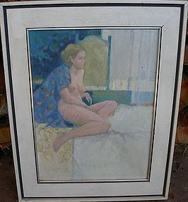 "JACK SCHNITZIUS ""GIRL WITH ROBE"" ORIGINAL OIL ON CANVAS"