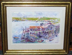DODGE MACKNIGHT FISHING HOUSES NEWFOUNDLAND, WATERCOLOR