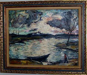 HARRY SHOULBERG RIVER LANDSCAPE WITH BOAT