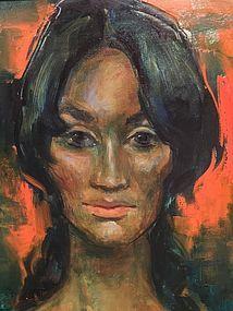 """JAN DE RUTH """"PORTRAIT OF JANINE"""" OIL PAINTING ON CANVAS"""