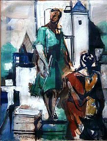 JACQUES DESPIERRE TWO FIGURES MIXED MEDIA 1954