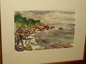 "ROBERT STOCKTON ROGERS ""ROCKY SHORE"" WATERCOLOR"