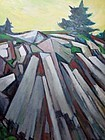 "G RALPH SMITH ""ROCK PILE"" OIL ON BOARD 1960'S"