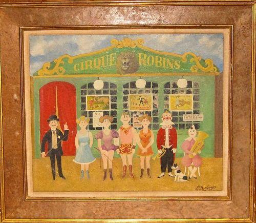 "FERNAND BOILAUGES ""CIRQUE ROBINS"" OIL ON BOARD 1950"