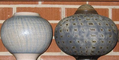 JAMES (JIM) SOUTHERLAND PAIR OF STUDIO CERAMIC VASES