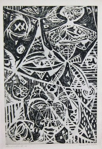 """WENDELL H. BLACK """"DESCENT INTO HELL II"""" ETCHING 1970"""