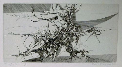 "WENDELL H. BLACK ""THORNS FOR A CROWN"" intaglio 1954"