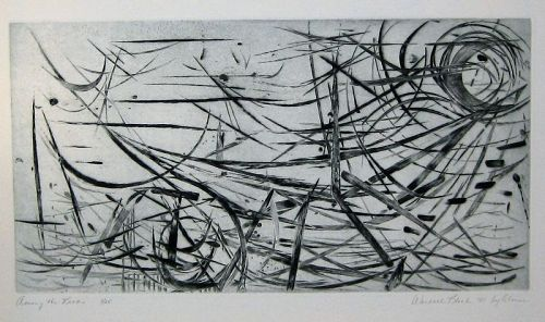"WENDELL H. BLACK ""AMONG THE REEDS"" DRYPOINT ON COPPER  1952"