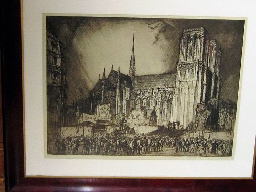 FRANK BRANGWYN NOTRE DAME, PARIS OVERSIZE ETCHING 1914