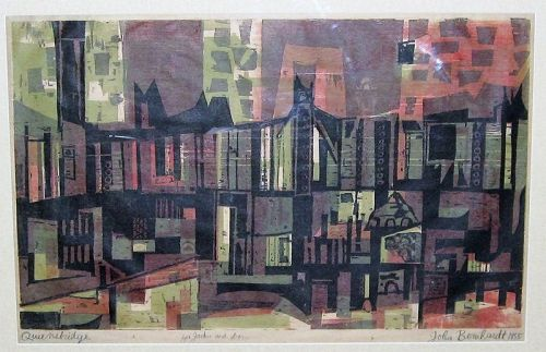 "JOHN BERNHARDT ""QUEENSBRIDGE"" ORIGINAL WOODBLOCK"
