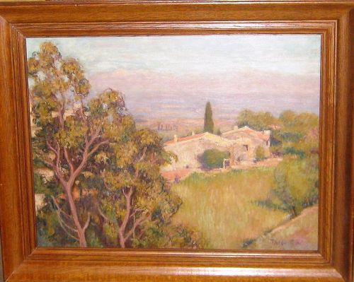 "PIERRE THEVENIN ""PAYSAGE PROVENCAL"" OIL ON PANEL 1930S"