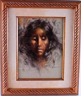 "RAMON KELLEY ""SENORA LUCERO"" ORIGINAL PASTEL 1971"