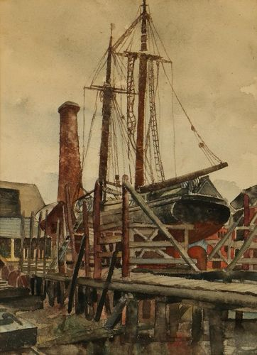 BERTRAM GOODMAN INDUSTRIAL HARBOR WATERCOLOR 1940
