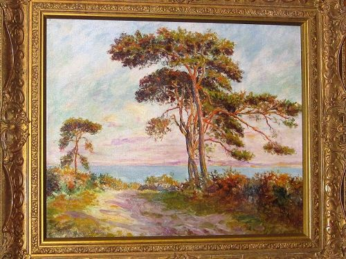 HENRI D'ESTIENNE VIEW OF THE SEA OIL ON CANVAS