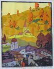 """HERBERT GURSCHNER """"SUNNY HILL"""" ORIGINAL WOODCUT 1930"""