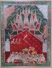 ANTIQUE THAI AYUTTHAYA BUDDHIST PAINTING ON CLOTH