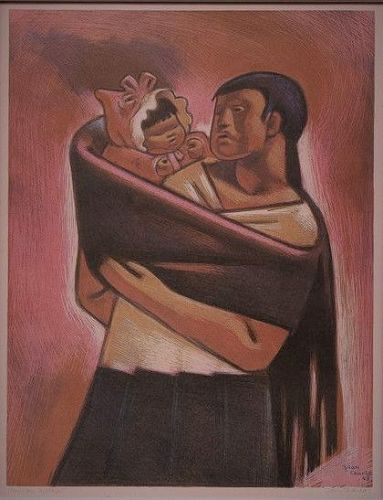 "JEAN CHARLOT ""MEXICAN MOTHER"" ORIGINAL LITHOGRAPH 1948"