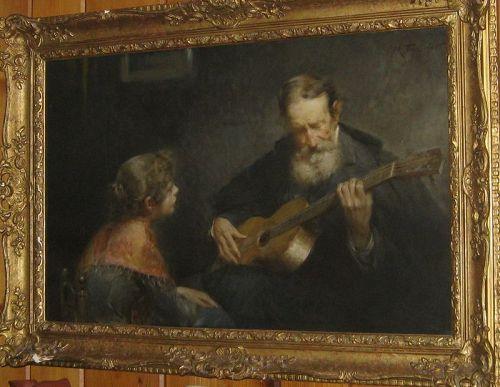 """MODESTO TEXIDOR Y TORRES """"LA LECCION DE GUITARRA"""" 1890S"""
