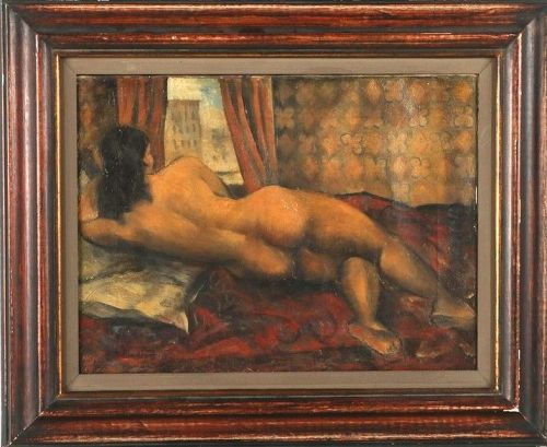 "ABRAHAM SOLOMON BAYLINSON ""NUDE"" OIL PAINTING ON CANVAS"