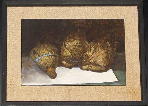 "W.  LOUIS JONES ""THREE BAGS FULL"" ORIGINAL ACRYLIC ON BOARD"