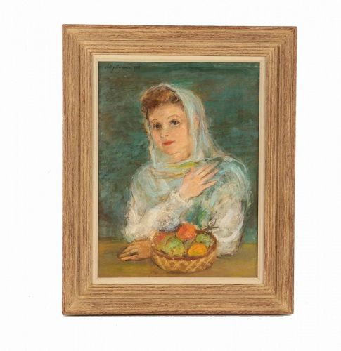 "LILY HARMON  ""MIRIAM and FRUIT"" ORIGINAL PAINTING 1943"
