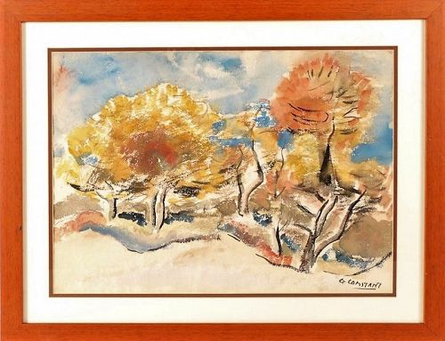 GEORGE ZACHARY CONSTANT MODERNIST LANDSCAPE WATERCOLOR