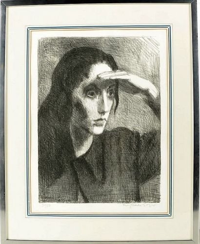 "RAPHAEL SOYER ""WOMAN SHADING HER EYES"" 1967 LITHOGRAPH"