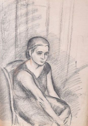 "JEAN HIPPOLYTE MARCHAND ""SEATED WOMAN"" ORIGINAL CHARCOAL"