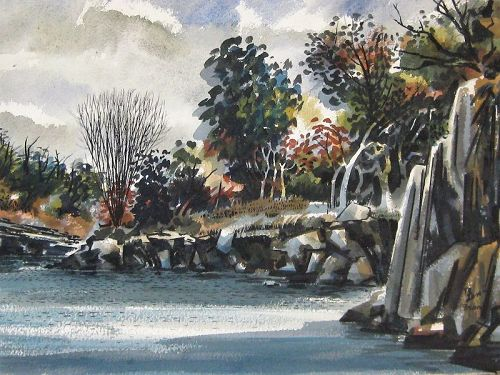"MICHAEL FRARY ""PEDERVALES RIVER, TEXAS"" ORIGINAL WATERCOLOR"