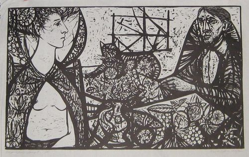 "WENDELL H. BLACK ""ARTIST AND MODEL"" OVERSIZE WOODCUT"