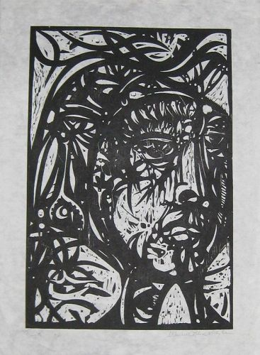 WENDELL H. BLACK HEAD OF A WOMAN ORIGINAL WOODCUT
