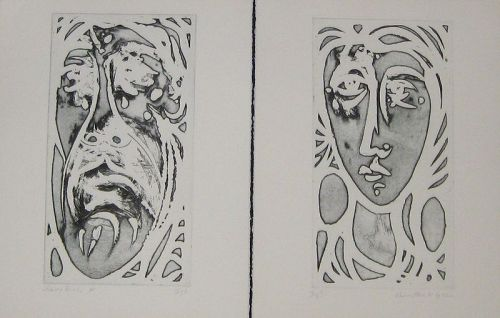 """WENDELL H. BLACK """"ARTIST AND MODEL"""" DIPTYCH DEEP ETCH"""