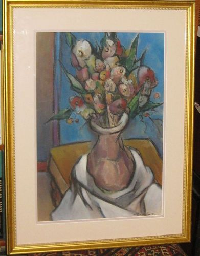 G. RALPH SMITH ORIGINAL FLORAL STILL LIFE MID CENTURY