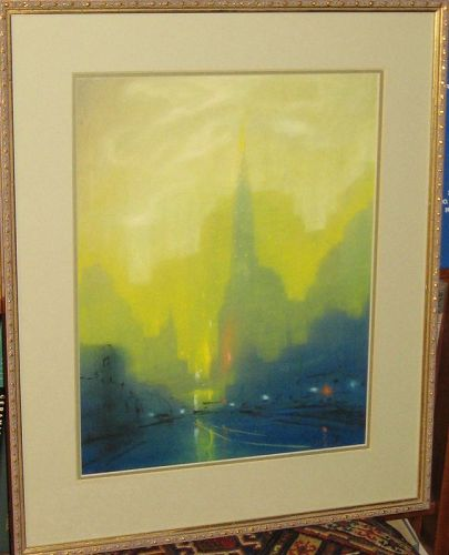 LEON DOLICE ORIGINAL PASTEL CHRYSLER BUILDING NEW YORK