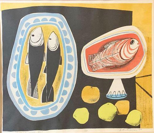 "GARO ANTREASIAN ""STILL LIFE WITH FISH"" 1950"