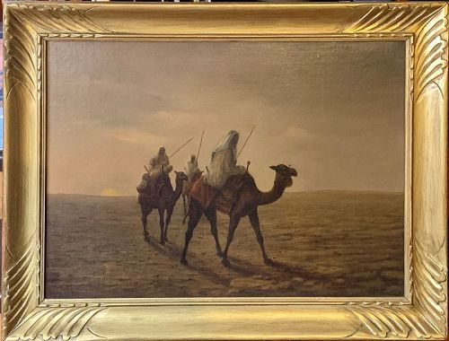CAMEL RIDERS IN THE DESERT ORIENTALIST OIL PAINTING