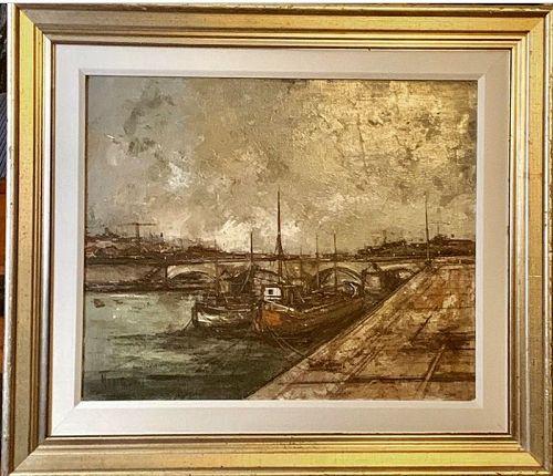MICHEL GIRARD BORDS DE SEINE ORIGINAL OIL PAINTING ON CANVAS